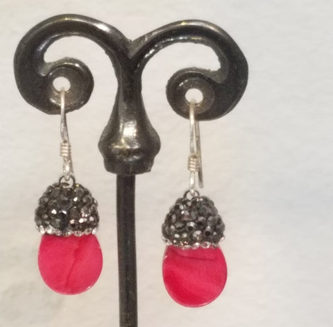 Red sparkly earrings