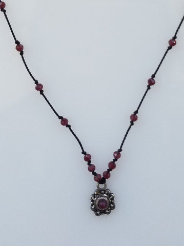Garnet silk necklace