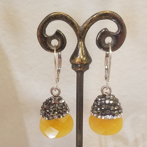 Sparkling yellow gem earrings
