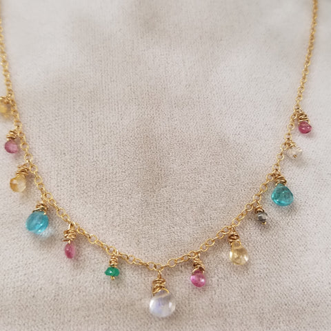 Blue pink and clear necklace