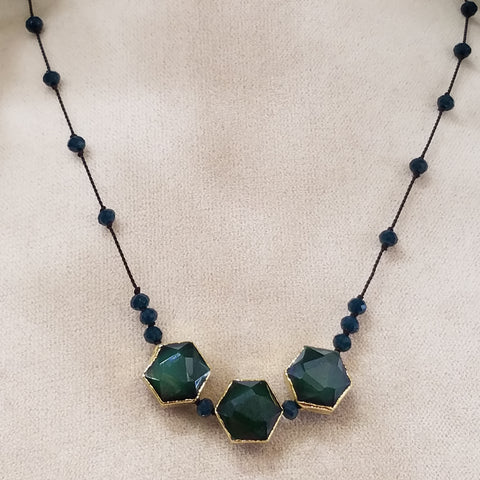 Midnight blue and green necklace