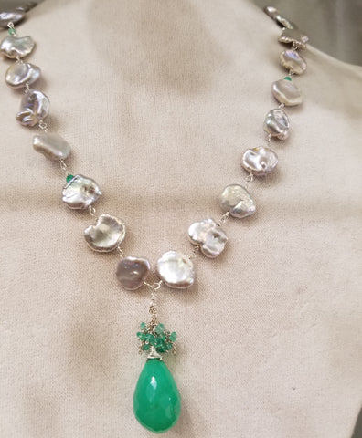 Chrysophrase Pearl necklace