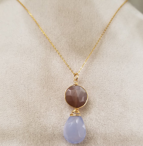 Chocklate Moonstone and Chalcedoney necklace