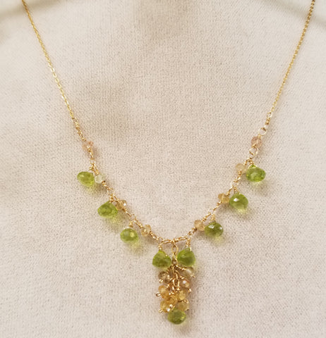 Peridot curtain necklace