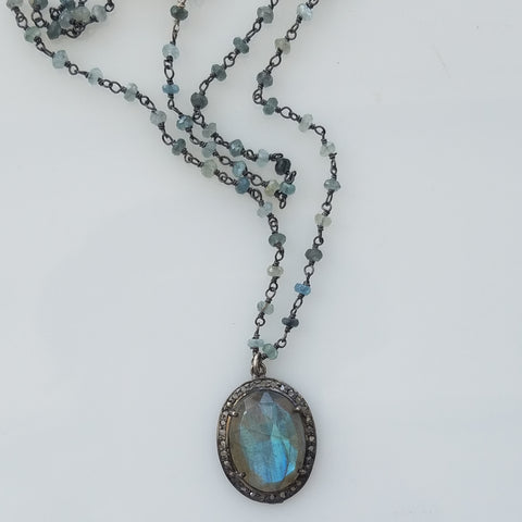 Diamonds, labradorite and Aquamarine necklace