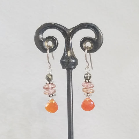 Orange-bronze earrings