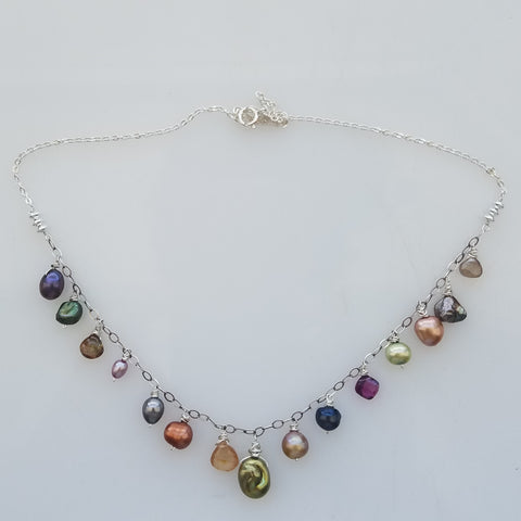 Silver and pearls neckalce