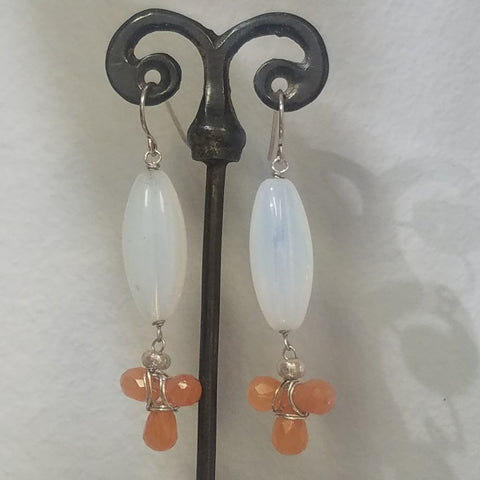 Carnelian clover earrings