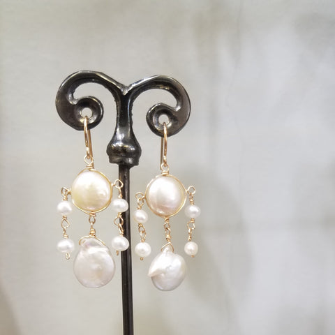 White pearls chandelier earrings