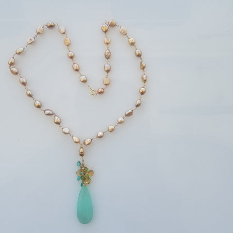 Champagne pearls with Chalcedoney necklace