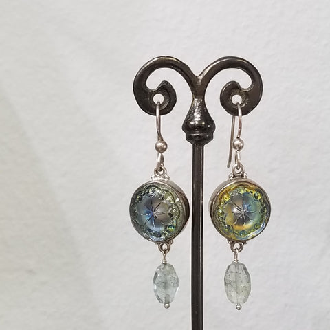 Victorian glass button earrings