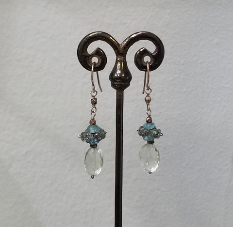 Aquamarine crown earrings