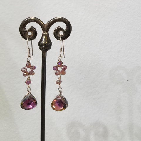 Purple flowers earrings