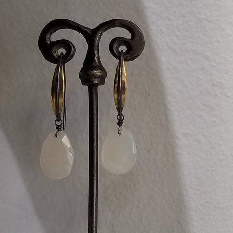 Two tone moonstone earrings