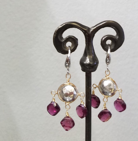 Hammered silver and garnet earrings