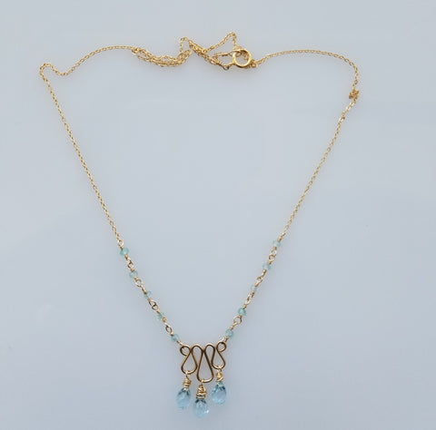 Blue Topaz dancing necklace