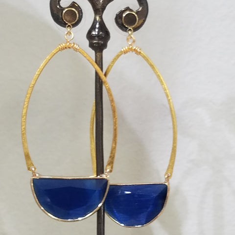 Half moon blue earrings