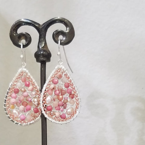 Pink with rose gold and silver earrings