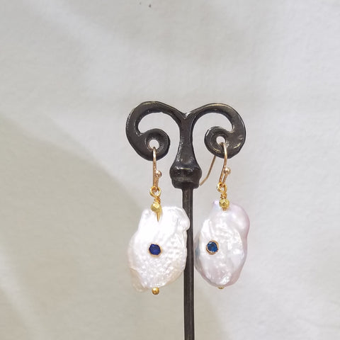 Blue dot earrings
