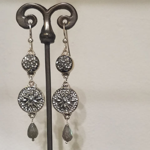 Silver Victorian buttons earrings