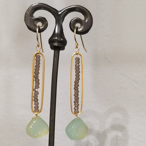 Chalcedoney and incased crystals earrings