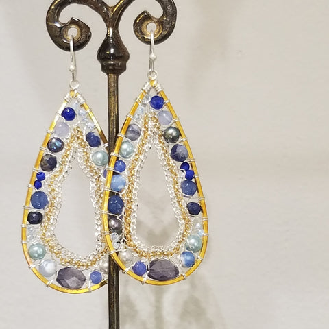 All blues farmed in gold earrings