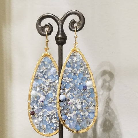 Blue sky framed in gold earrings
