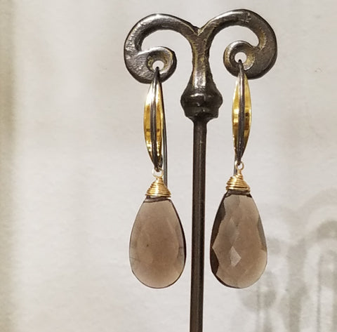 Two tone with Smokey Quartz earrings