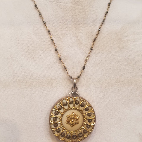 Gold Victorian button necklace