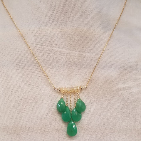 Five drops of Chrysoprase necklace