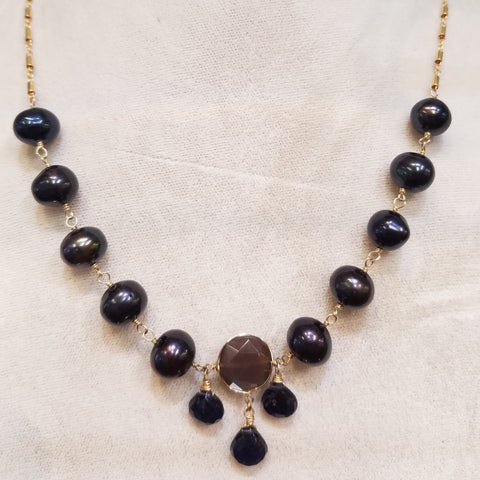 Midnight Pearls and Iolite necklace