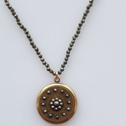 Victorian Button on Pyrite necklace