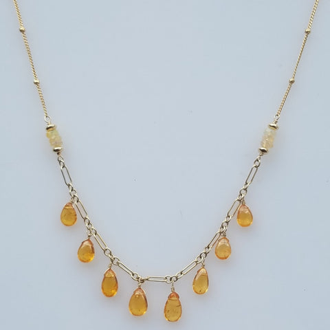 Mandarin Garnets drops necklace