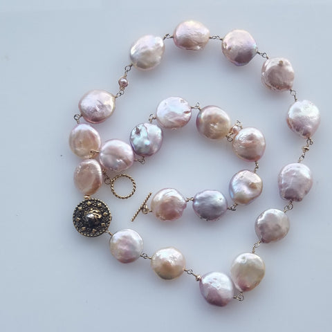 Pearl and Victorian button necklace/Bracelet
