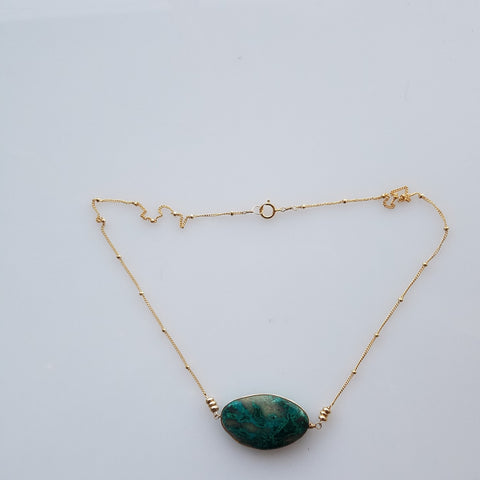 Chrysocolla gem necklace