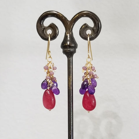 Pink, purple and red earrings