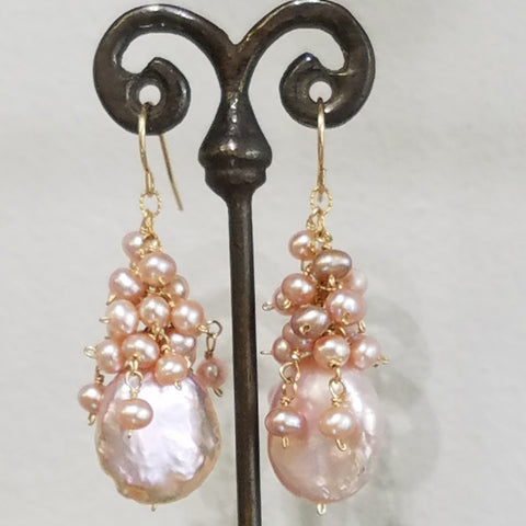 Majestic Pearls cluster earrings