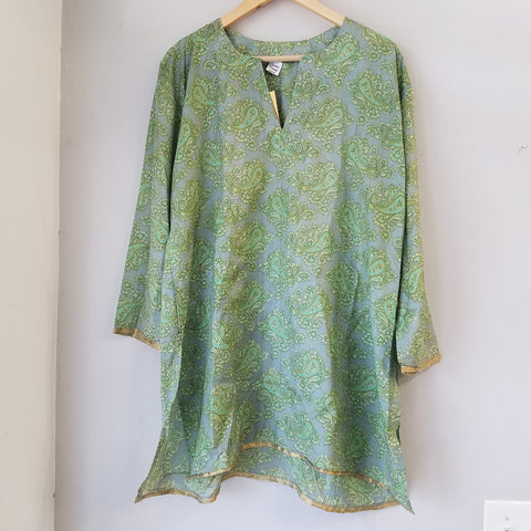 Green silk tunic