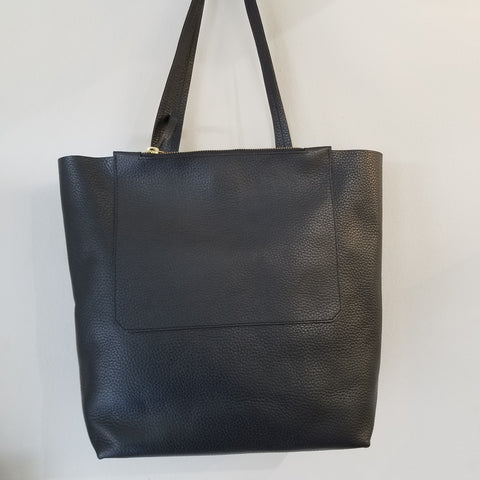 Double zip black tote, hand bag