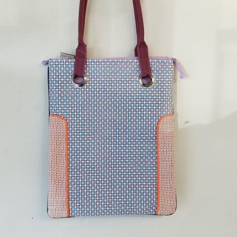 Blue french tote hand bag