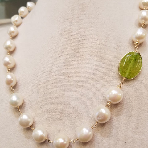 Pearls accented with Peridot necklace