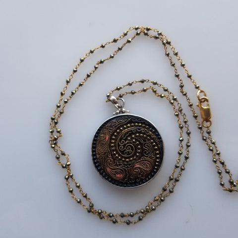 Paisley Victorian button necklace