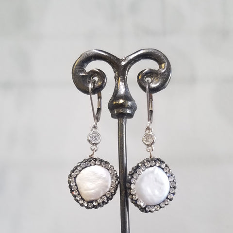 Round pearls surrounded with sparkle earrings