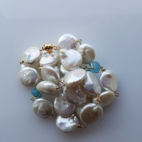 Aquamarine and pearls necklace