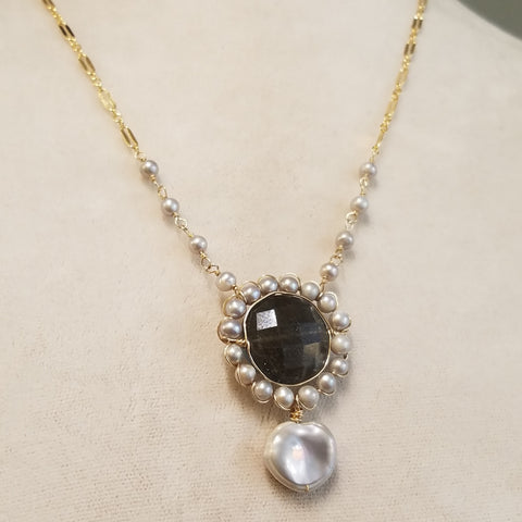 Victorian inspired labradorite necklace