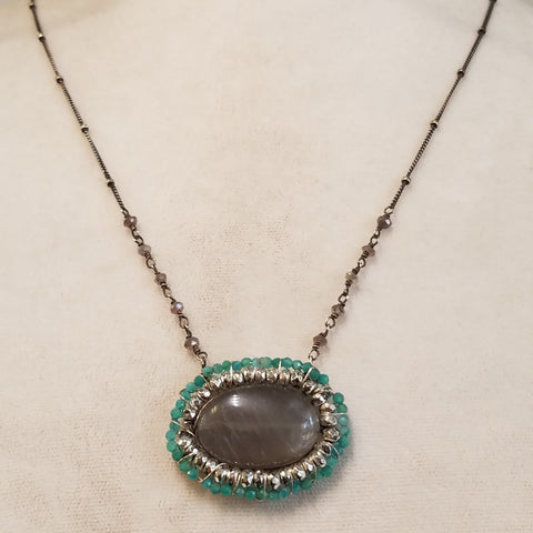 Moonstone, Amazonite and Pyrite necklace
