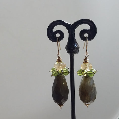 Peridot, Citrine and Lab earrings