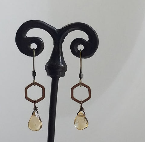 Hexagon with Citrine earrings