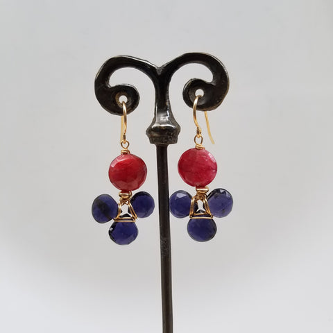 Ruby and Iolite earrings