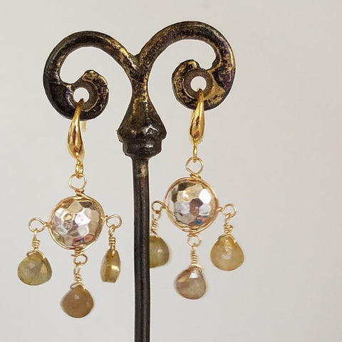 Hummered silver and Moonstone chandelier earrings